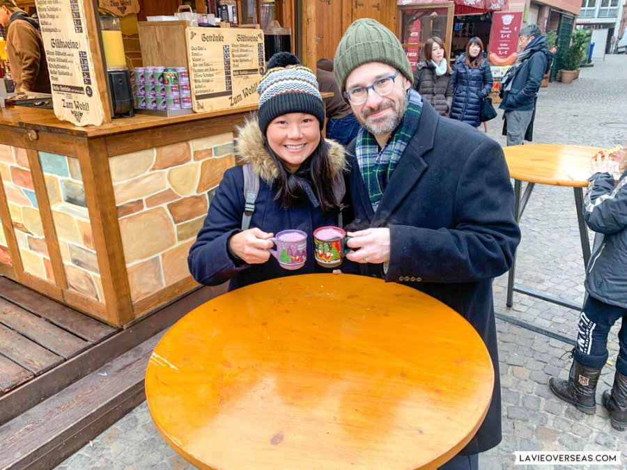 Enjoying glühwein.