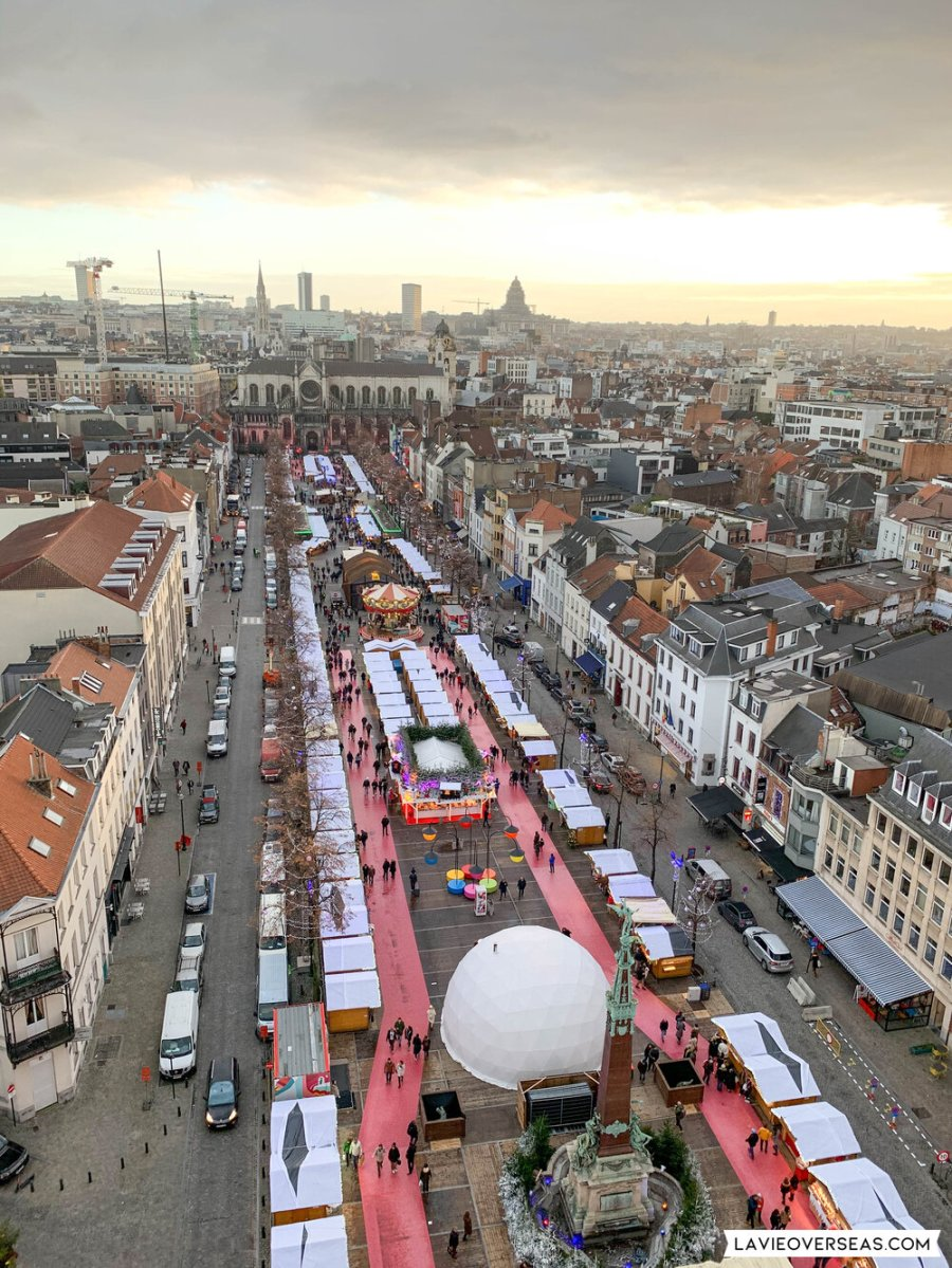 View of one of the main areas of the Christmas market from atop the ferris wheel.