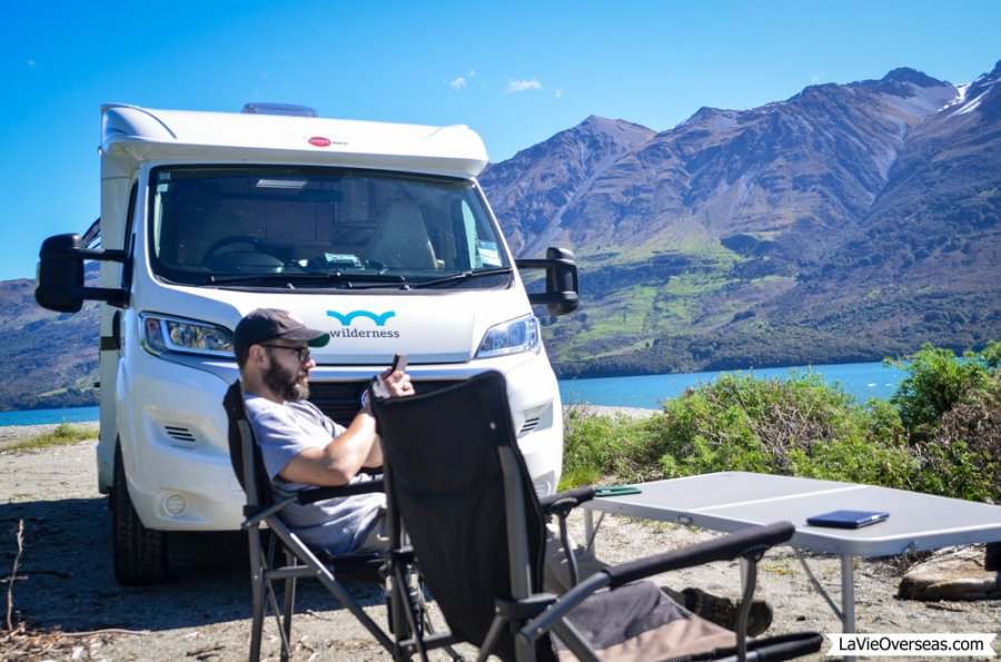 new zealand, south island, glenorchy, freedom camping, wilderness campervan