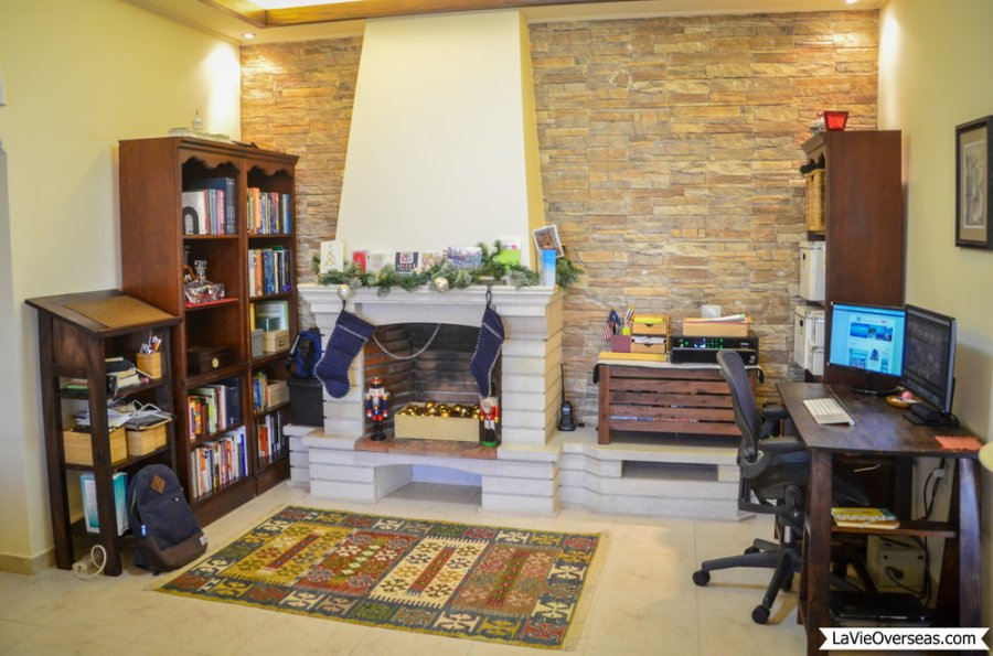 amman, jordan, foreign service housing, house tour, family room, after, home office